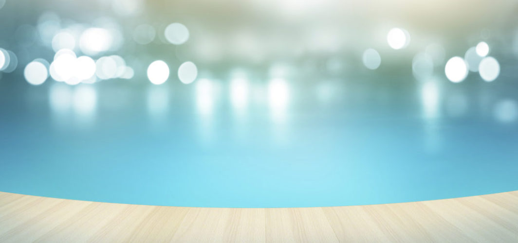 Wooden floor tropical swimming pool on pastel background,